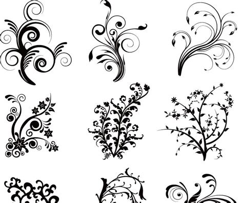 Free Vector がらくた素材庫: 植物の曲線のシルエット Floral Curves